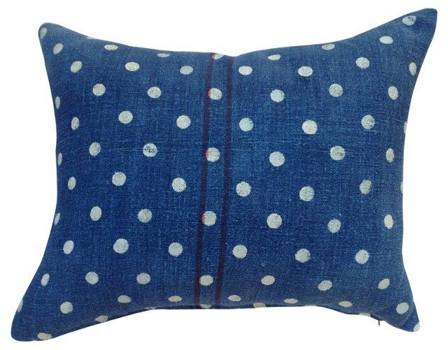 Indigo  French Grain Sack Pillow w/ Dots