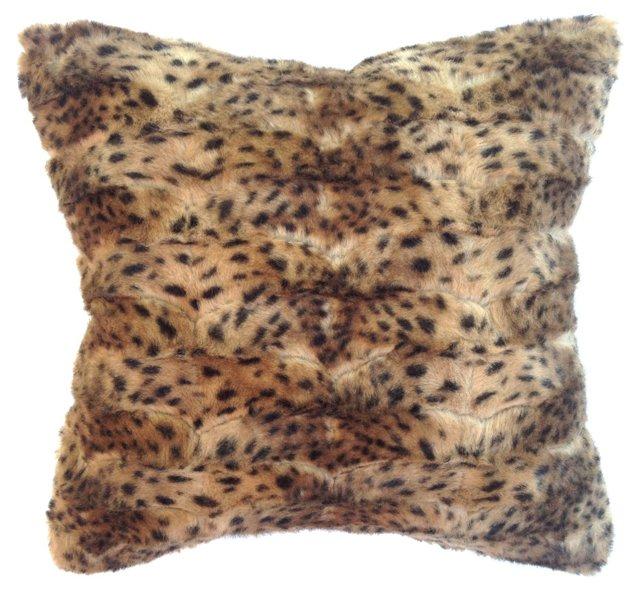 Faux-Leopard Fur Pillow