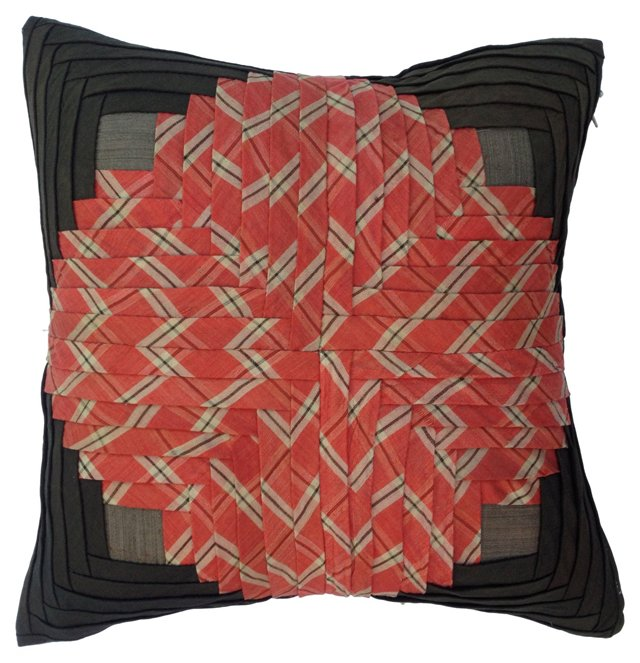 Pillow w/ 19th-C.  Quilt     Fragment