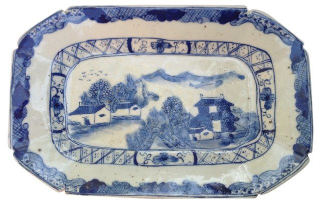 Chinese Blue & White Wall Platter