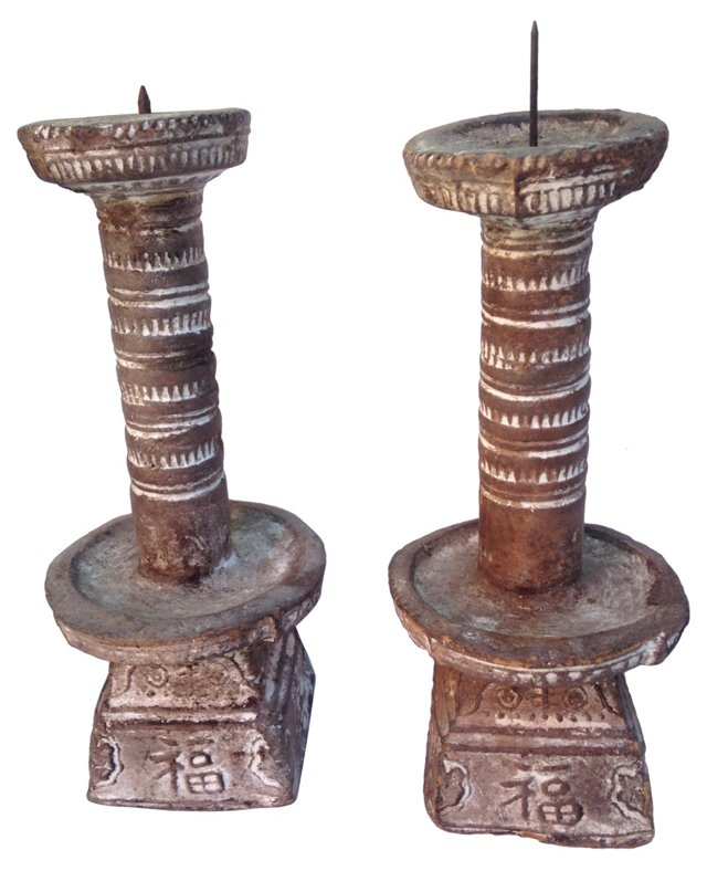 Chinese Altar Candlesticks, Pair