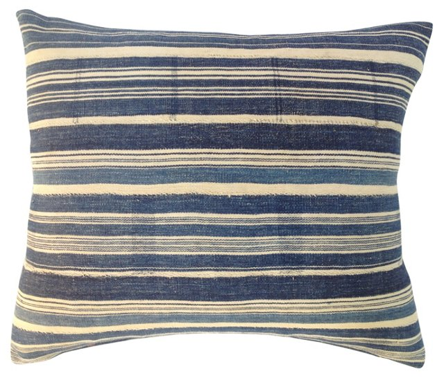 African  Striped  Indigo   Pillow
