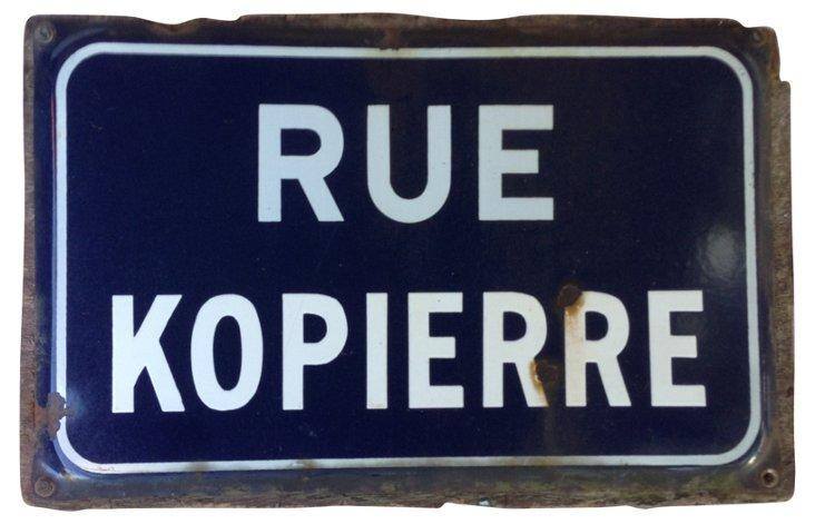 French  Rue Kopierre Street Sign