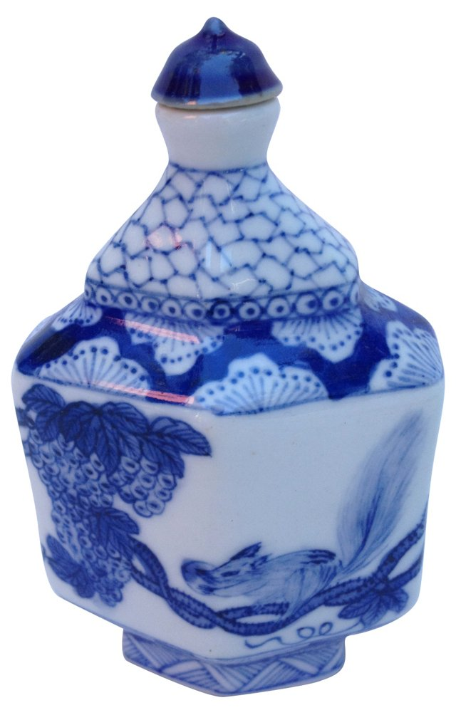 Blue & White Hand-Painted Bottle