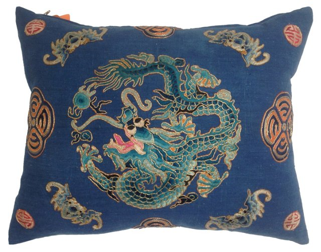 Embroidered Dragon Pillow w/ Bats