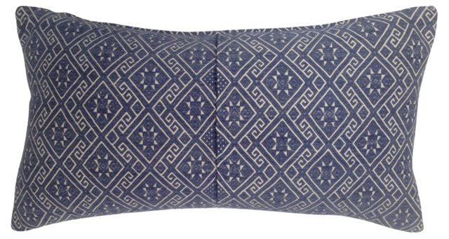Blue  & White Embroidered  Pillow