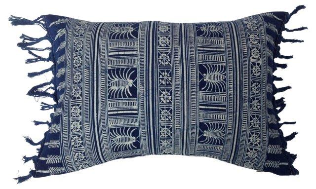 Indigo Batik Pillow w/ Fringe
