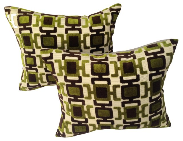 Abstract  Velvet   Pillows, Pair