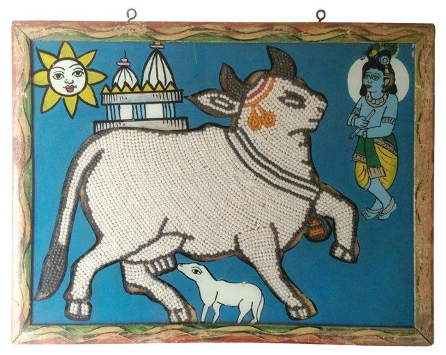 Indian Églomisé Beaded Sacred Cow
