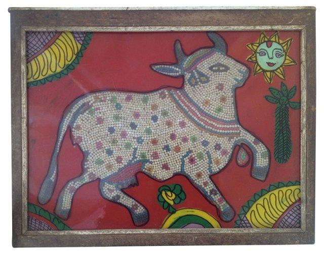 Sacred Cow Beaded Indian Églomisé