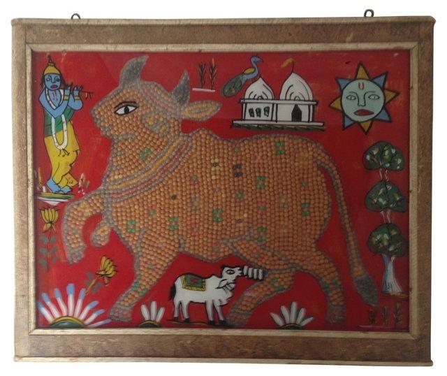 Beaded   Indian  Églomisé Cow