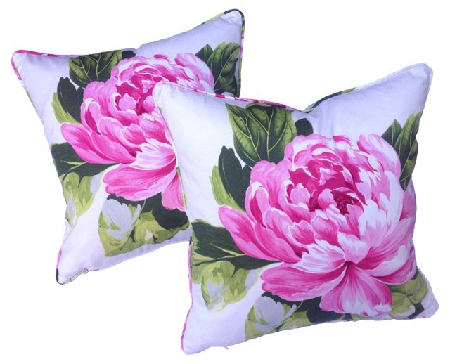 Peonies Pillows, Pair