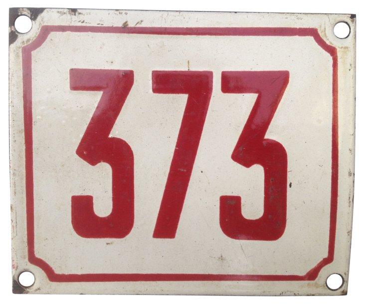 French Enamel Street Number, 373