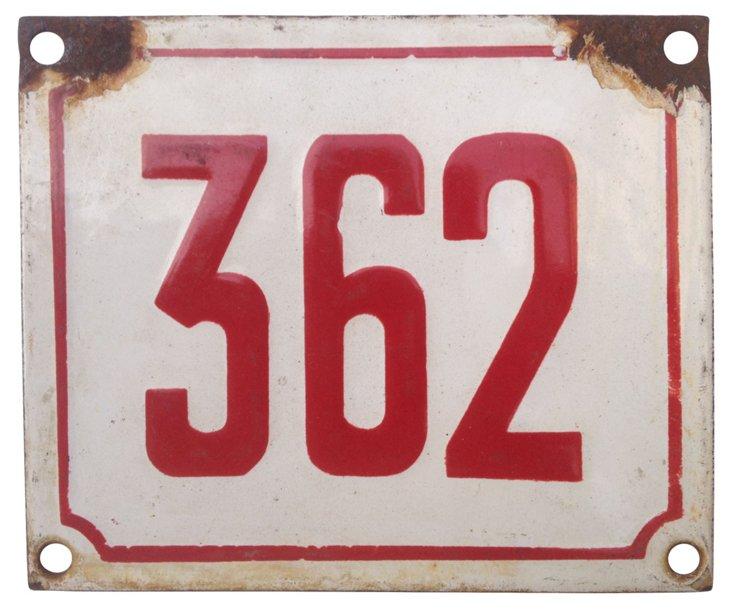 French Enamel Street Number, 362