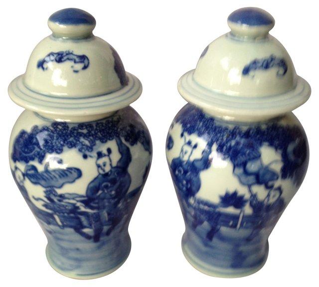 Blue & White Lidded Urns,  Pair