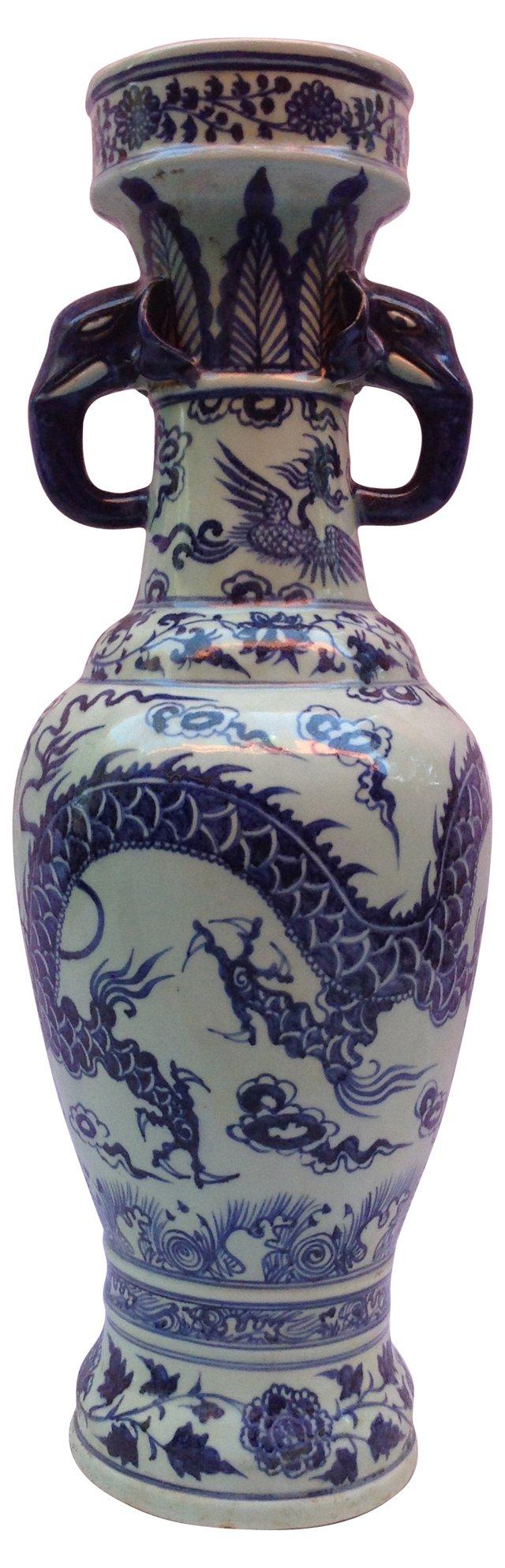 Dragon Vase w/ Elephant Handles