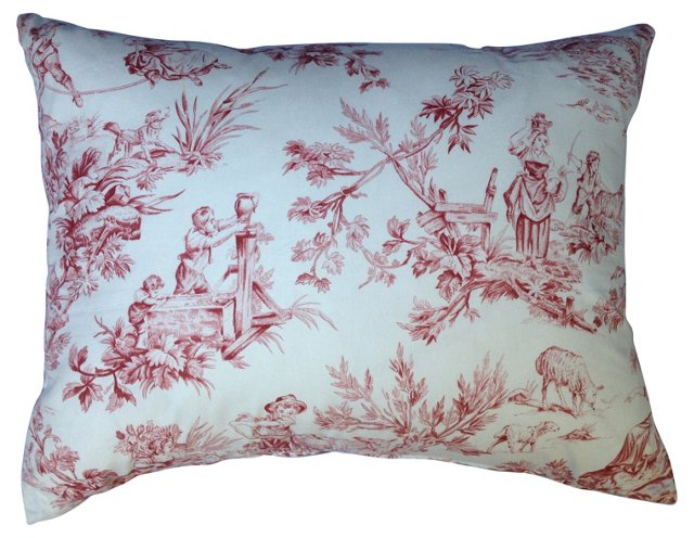 French Country-Motif Toile Pillow