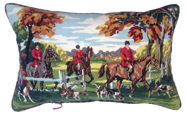 English Equestrian Needlepoint Pillow