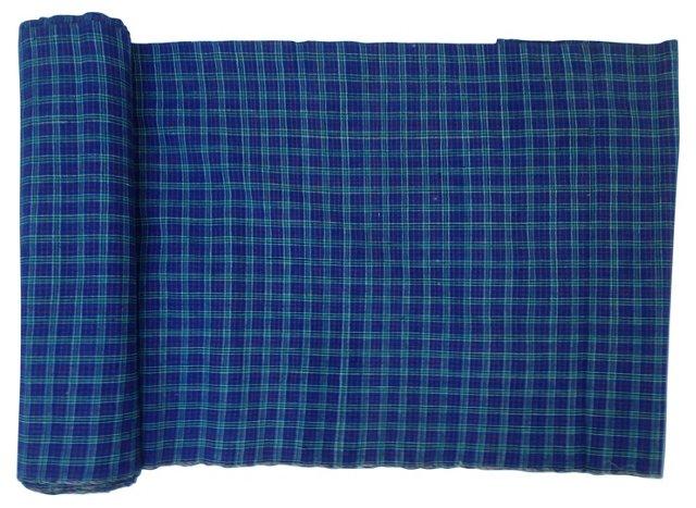 Indigo Plaid Fabric, 7.5 Yds