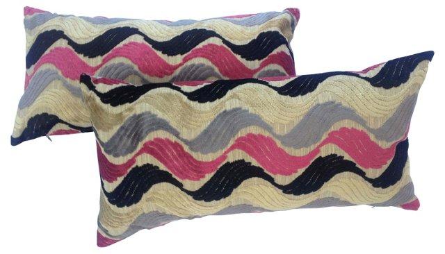 Pillows w/ 1940s    Velvet, Pair