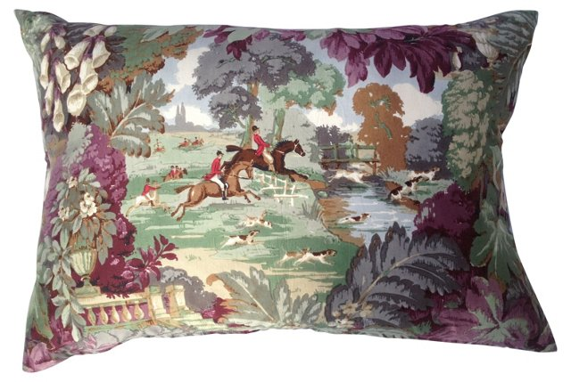 English Hunt Scene Pillow