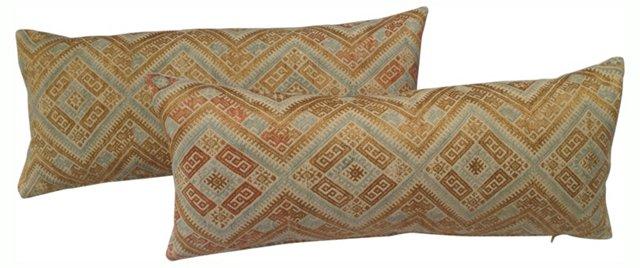 Gold & Blue Wedding Quilt Pillows, Pair