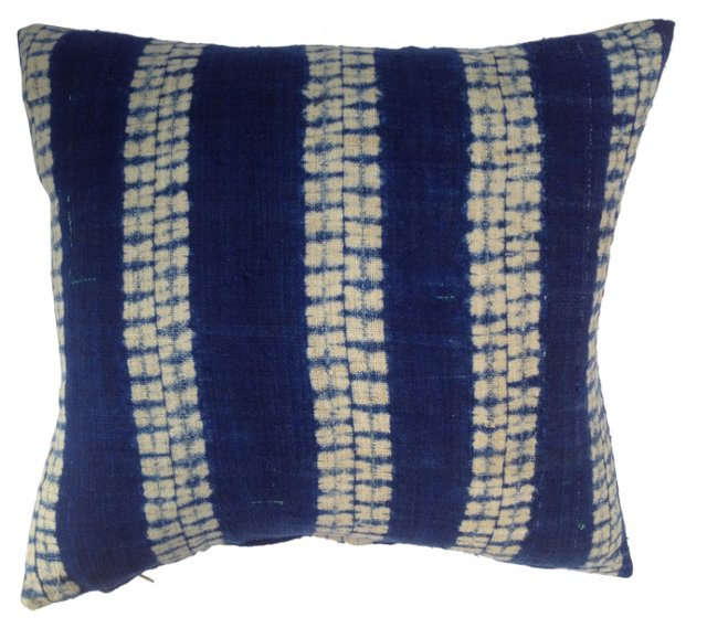 Indigo   Linen Tribal Pillow