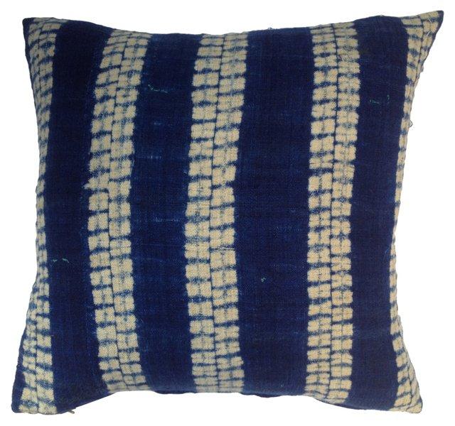 Indigo Linen Tribal Pillow