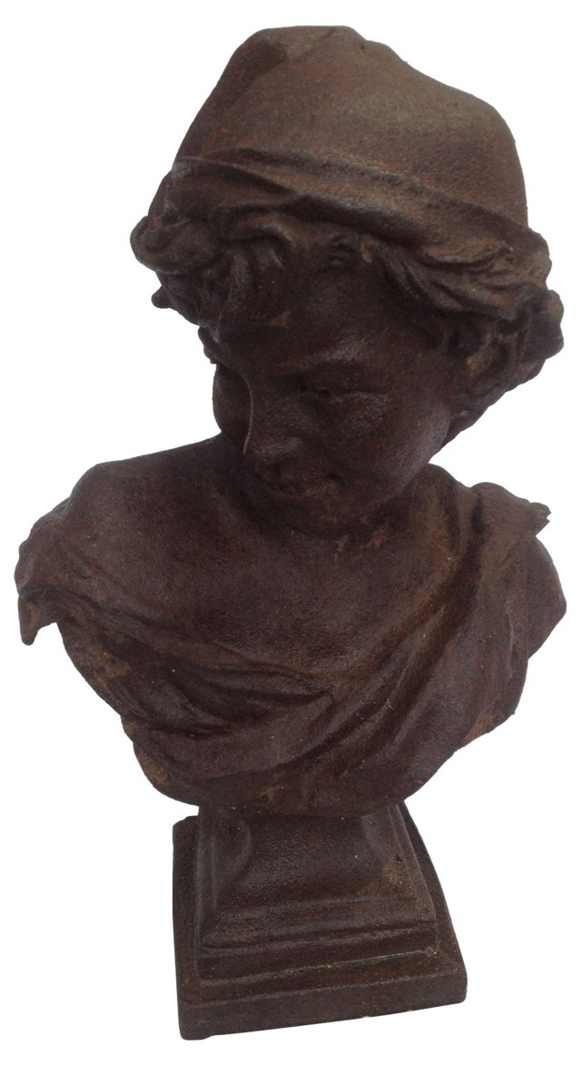 19th-C. French Garden Bust of a Boy