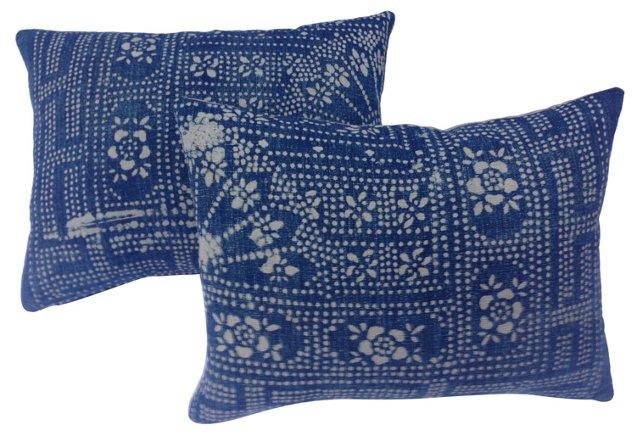 Indigo Batik Pillows, Pair