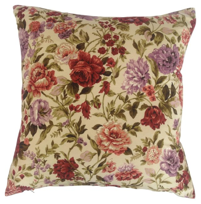 English Country Floral Garden  Pillow