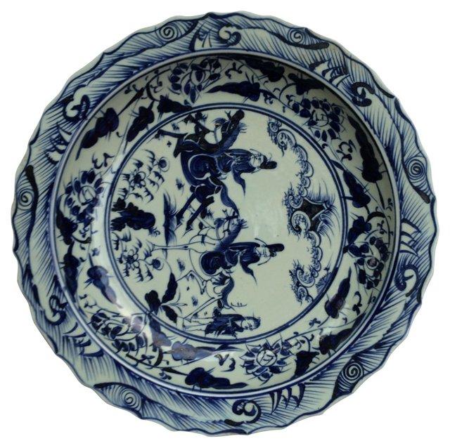 Oversized     Chinese Blue & White  Bowl