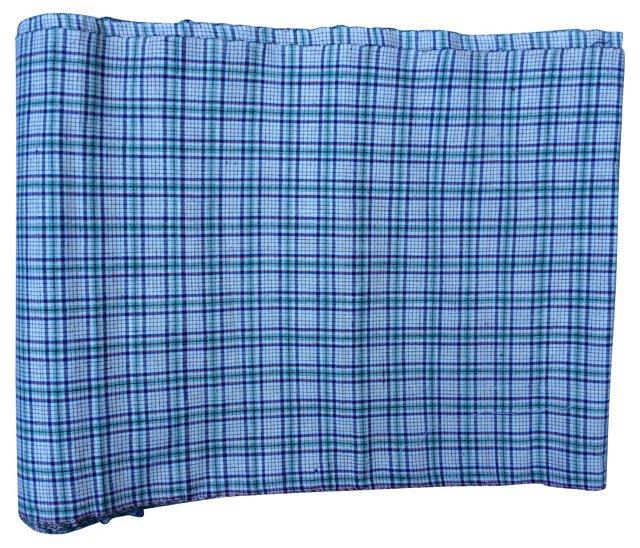 Handwoven Plaid Textile, 5.6 Yds