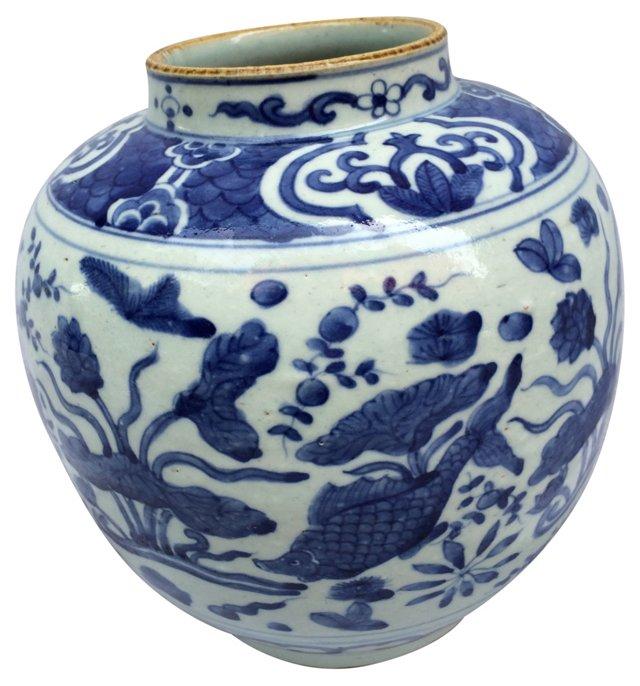 Blue & White Vase w/ Fish
