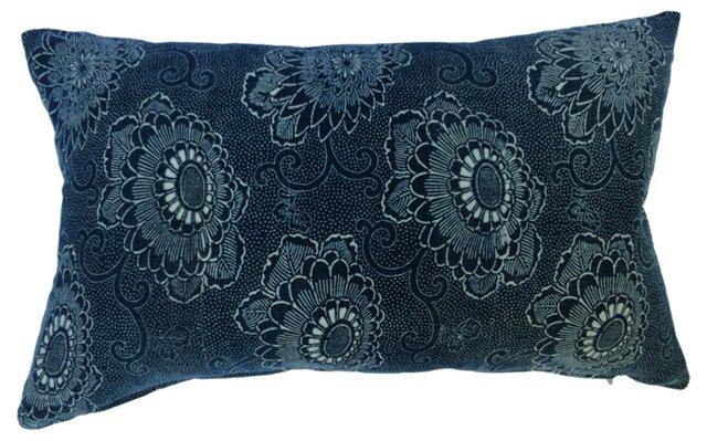 Japanese Katazome Indigo Floral Pillow