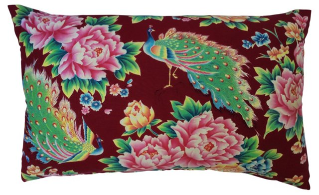 Pillow w/ 1940s   Floral Peacock Fabric