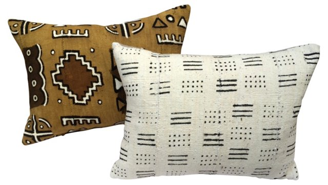 African Mud Cloth  Pillows, Pair