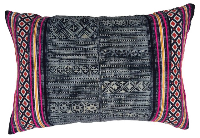 Indigo Batik Pillow w/ Ikat Trim