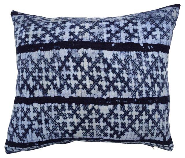 Indigo Cross-Motif Batik Pillow