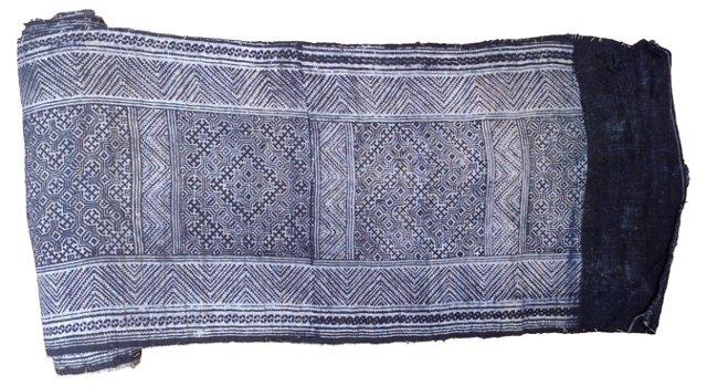 Indigo Batik Linen Textile, 5.75 Yds