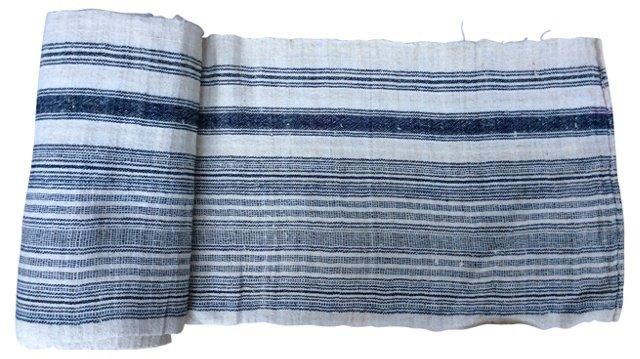 Handwoven Indigo-Striped Linen, 10.7 Yds