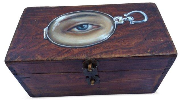 Antique Box w/ Painted Eye Locket