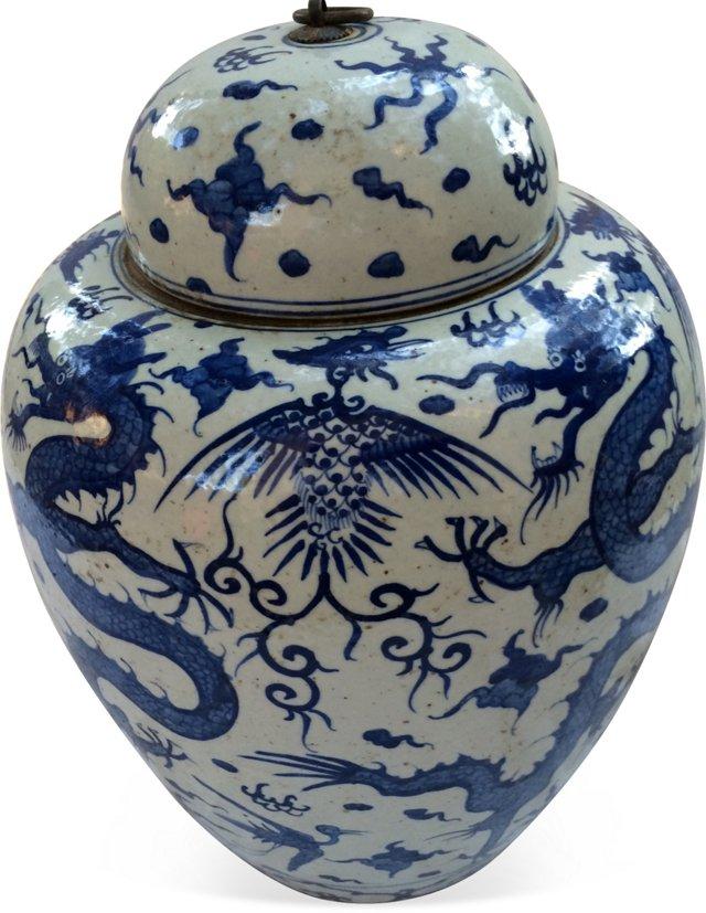 Blue & White Dragon Altar  Urn