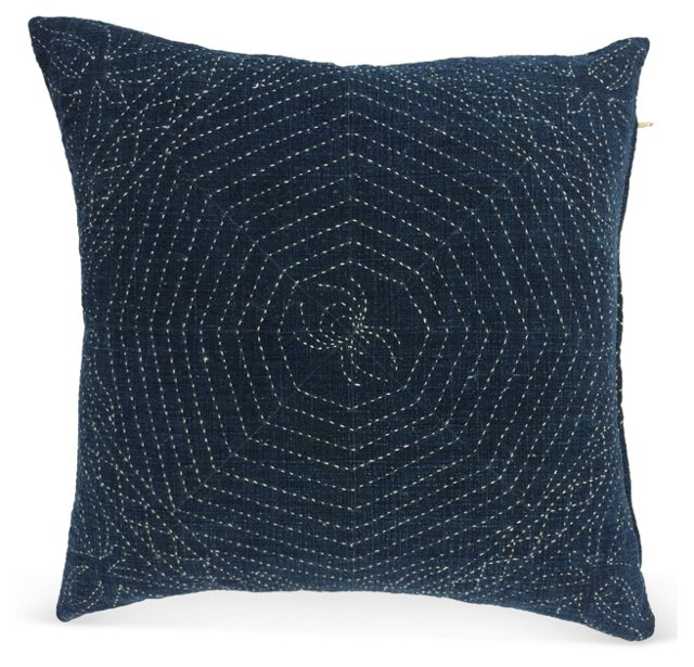 Antique Indigo Pillow w/ Spider Web