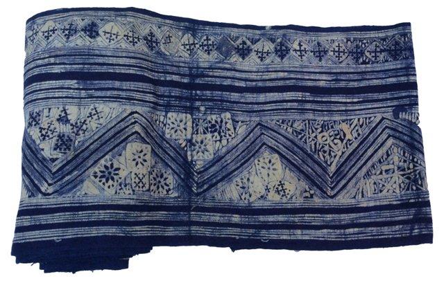 Indigo Batik Textile, 4.3 Yds