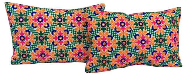 Mirrored   Indian Pillows, Pair