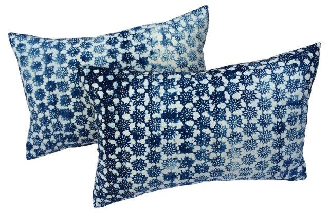 Pillows w/ Antique Floral Batik,   Pair