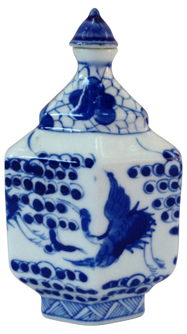 Blue & White Chinese Bottle w/ Cranes