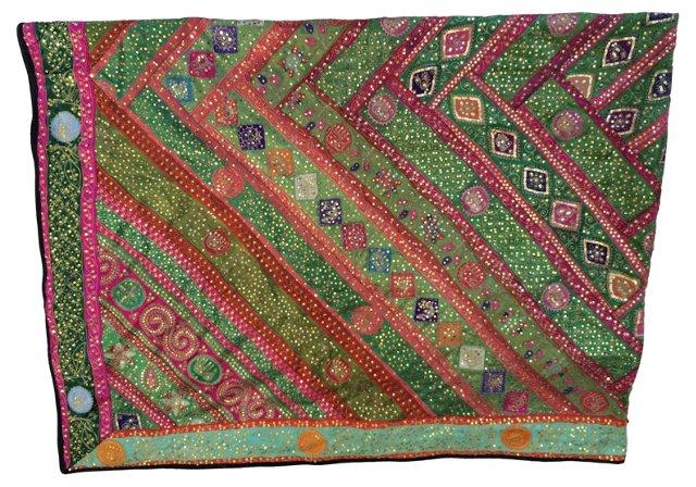 Antique Indian Silk Sari Throw
