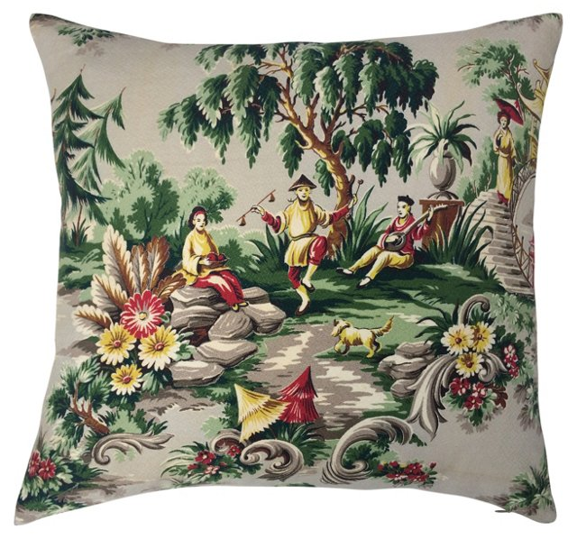 1940s Chinoiserie Barkcloth Pillow